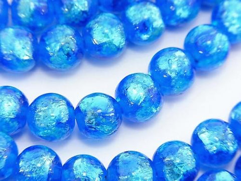 Lampwork Beads Round 8mm [Blue x Light Blue / Light Emitting Type] 1/4 or strand (aprx.15inch / 36cm)