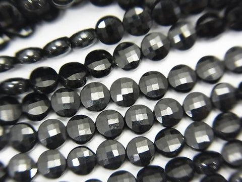 High Quality! 1strand $6.79! Black Spinel AAA Faceted Coin 4x4x2mm 1strand (aprx.15inch / 37cm)