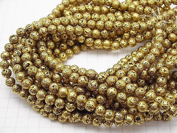 1strand $5.79! Rubber (Lava) Round 8mm Gold color coating 1strand (aprx.14inch / 35cm)