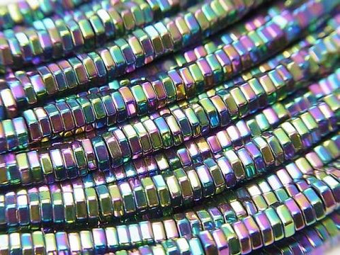 1strand $2.79! Hematite Hexagon Roundel (Tube) 3x3x1mm Metallic coating 1strand (aprx.15inch / 38cm)