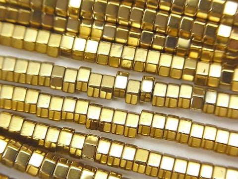 1strand $3.79! Hematite Hexagon Roundel (Tube) 4x4x2mm Gold coating 1strand (aprx.15inch / 38cm)