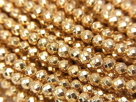 1strand $6.79! Hematite Faceted Round 3mm Gold Coating NO.2 1strand (aprx.15inch / 38cm)