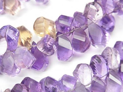 High Quality Light Color Amethyst xCitrine AAA- Drop 4Faceted Twist Faceted Briolette half or 1strand (aprx.7inch / 18cm)