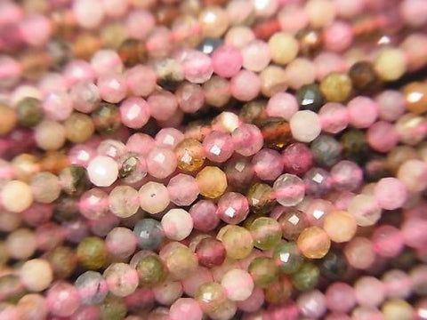 High Quality! 2pcs $5.79! Multicolor Tourmaline AA ++ Faceted Round 2mm 1strand (aprx.15inch / 37cm) - kenkengems.com