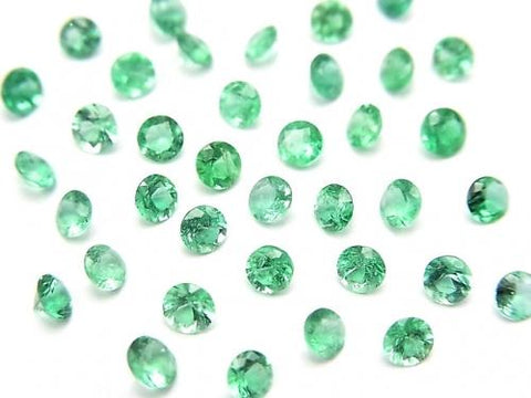 High Quality Colombia Emerald AAA Undrilled Round Faceted 3x3mm 2pcs