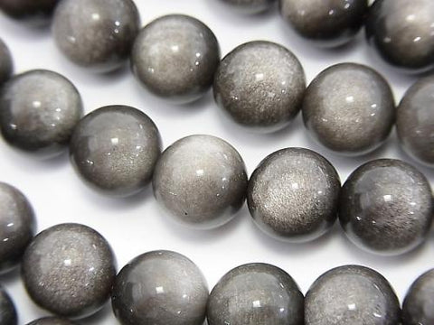 1strand $6.79! Silver Shine Obsidian AAA Round 10mm 1strand (aprx.15inch / 36cm)