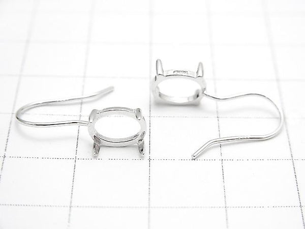 Silver925 Earwire Empty Frame Oval 8x6mm Rhodium Plated 1pair $6.79!