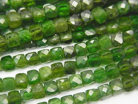 High Quality! Chrome Diopside AA + Cube Shape 4x4x4mm half or 1strand (aprx.15inch / 37cm)
