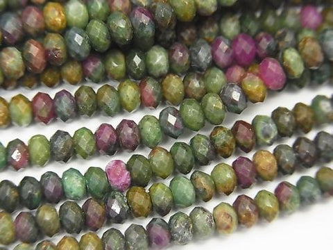 High Quality! 1strand $9.79! Ruby in Zoisite Faceted Button Roundel 4x4x2mm 1strand (aprx.15inch / 38cm)