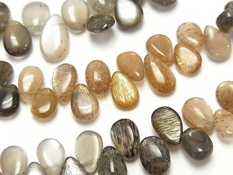 1strand $16.99 High Quality Silver Shine Gray-Brown Moon Stone AAA- Pear shape (Smooth) 1strand (aprx.7inch / 18cm)