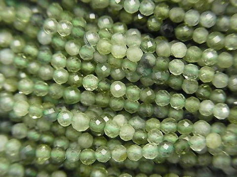 High Quality! 1strand $7.79! Green Tourmaline AAA- Faceted Round 2mm 1strand (aprx.15inch / 37cm) - kenkengems.com