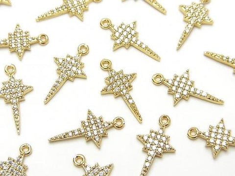 Metal Parts star motif charm 15x8mm Gold color (with CZ) 2pcs $3.59!