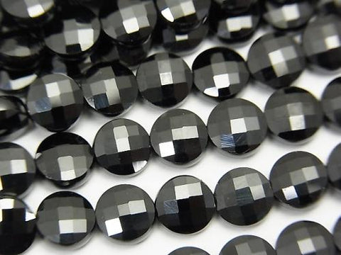 High Quality! 1strand $13.99! Black Spinel AAA Faceted Coin 6x6x3mm 1strand (aprx.15inch / 38cm)