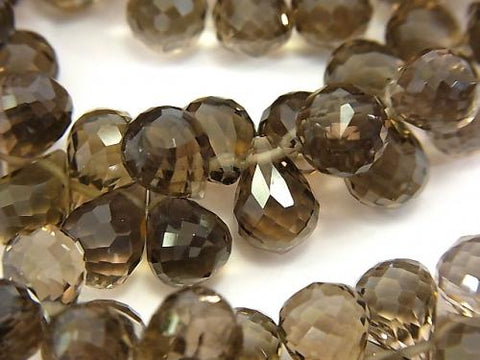 High Quality!  Smoky Crystal Quartz AAA Drop  Faceted Briolette  10x7x7mm 10pcs ,1strand (Bracelet)