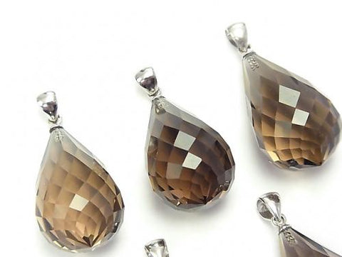 High Quality Smoky Crystal Quartz AAA Faceted Drop  Pendant 25x15x15mm Silver925  1pc $14.99!