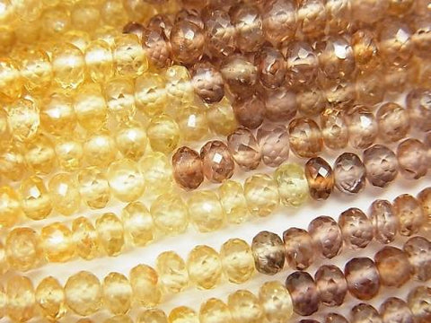 High Quality Natural Multicolor Zircon AAA Faceted Button Roundel half or 1strand (aprx.14inch / 35cm)