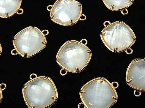White Shell x Crystal AAA Bezel Setting Faceted Square 12x12mm [Both Side] 18KGP 1pc $6.79!