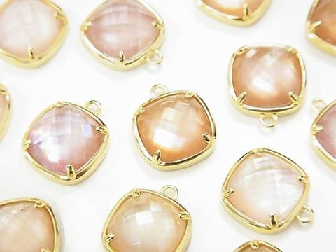 Pink Shell x Crystal AAA Bezel Setting Faceted Square 12x12mm [One Side] 18KGP 1pc $6.79!