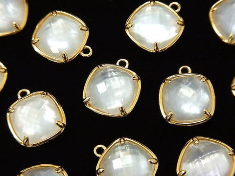 White Shell x Crystal AAA Bezel Setting Faceted Square 12x12mm [One Side] 18KGP 1pc $6.79!