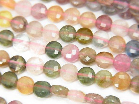 High Quality! 1strand $12.99! Multicolor Tourmaline AA + Faceted Coin 4x4x2mm 1strand (aprx.15inch / 37cm) - kenkengems.com