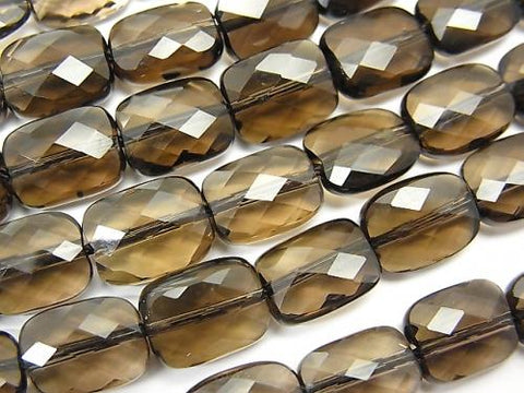 High Quality!  Smoky Crystal Quartz AAA Faceted Rectangle 10x8mm 1/4 or strand (aprx.15inch/38cm)