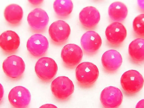 Fuchsia Pink Chalcedony AAA Half Drilled Hole Faceted Round 6mm 5pcs $4.79!