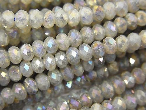 High Quality! 1strand $9.79! Labradorite AA ++ Faceted Button Roundel 4x4x2.5mm coating 1strand (aprx.14inch / 35cm)