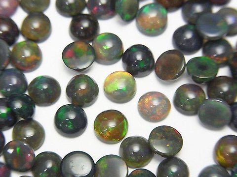 High Quality Black Opal AAA Round Cabochon 5x5mm 4pcs $13.99! - kenkengems.com