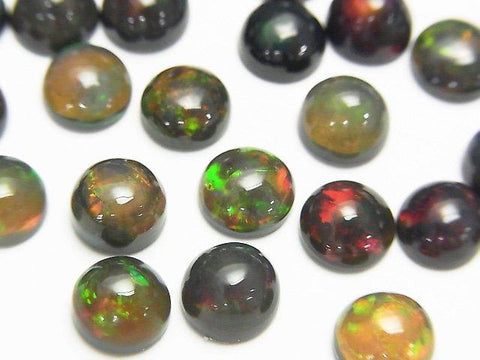 High Quality Black Opal AAA Round Cabochon 7x7mm 2pcs $16.99! - kenkengems.com