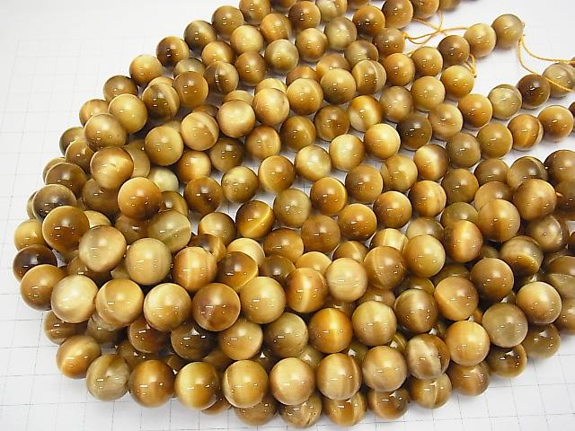 Golden Tiger Eye AA ++ Round 14mm half or 1strand (aprx.15inch / 37cm)