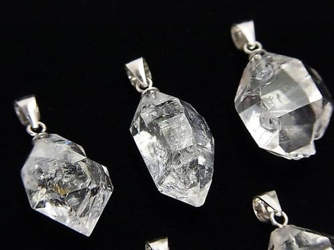 NYHerkimer Diamond AAA Rough Rock Nugget Pendant Silver925 1pc
