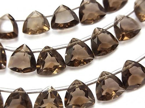 High Quality Smoky Crystal Quartz AAA Triangle Faceted 10x10x5mm half or 1strand (18pcs )
