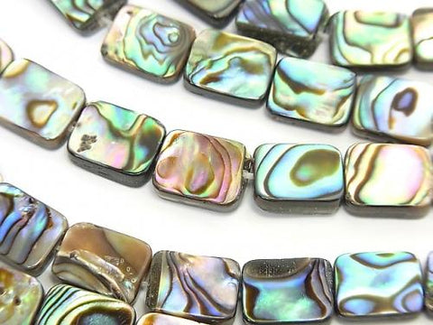 Abalone Shell rectangle 10x8mm half or 1strand (aprx.15inch / 38cm)