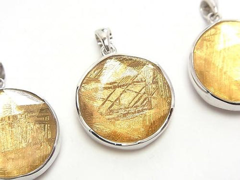 Meteorite (Muonionalusta) Pendant Both Side Finish 22mm Gold Color Silver925