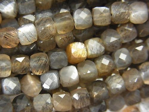 High Quality! Silver & Golden Shine Gray Moon Stone AAA Cube Shape 4x4x4mm half or 1strand (aprx.15inch / 36cm)