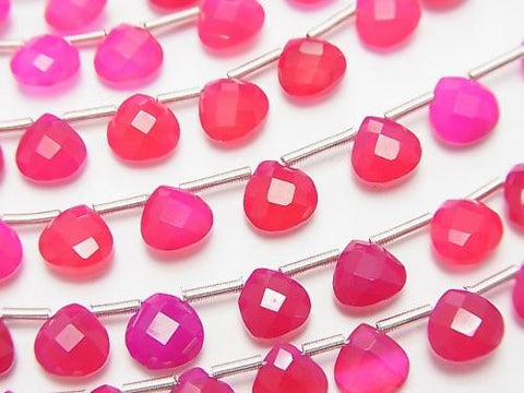 1strand $15.99! High Quality Fuchsia Pink Chalcedony AAA Chestnut Faceted Briolette 6x6x3mm 1strand (28pcs)