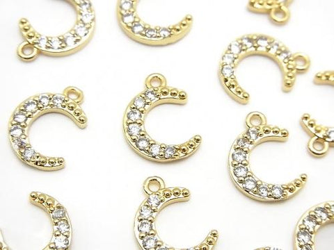 Metal Parts Crescent Charm Gold Color (with CZ) 2pcs $2.79!