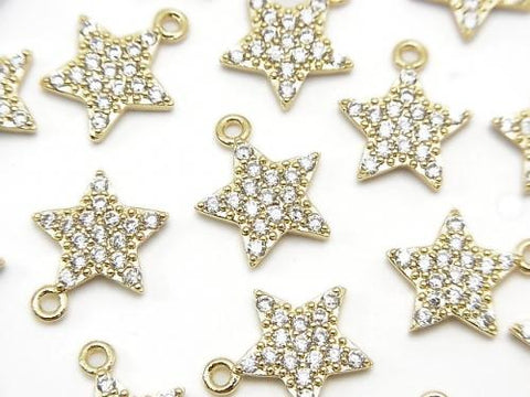 Metal Parts star motif charm 13x11mm gold color (with CZ) 2pcs $3.59!
