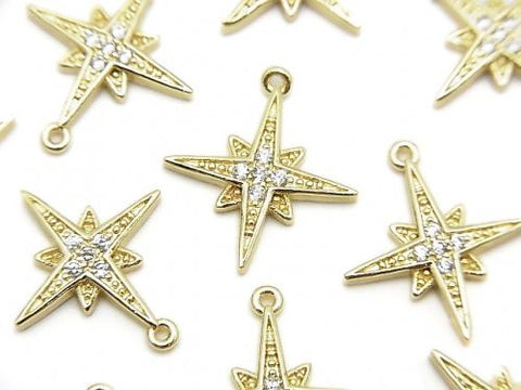 Metal Parts star motif charm 16x15mm gold color (with CZ) 2pcs $3.79!