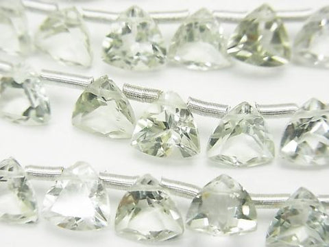 1strand $16.99! High Quality Green Amethyst AAA Triangle Faceted 7x7x4mm 1strand (18pcs)