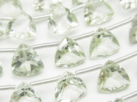 1strand $23.99! High Quality Green Amethyst AAA Triangle Faceted 10x10x6mm 1strand (8pcs)