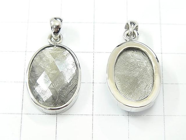 Meteorite  Faceted Oval Pendant 20x15x6mm Silver925
