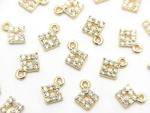 Metal Parts charm with CZ  Diamond Shape 5x5mm Gold Color 2pcs $1.99!