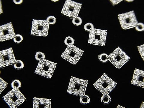 Metal Parts charm with CZ  Diamond Shape 5x5mm silver color 2pcs $1.99!