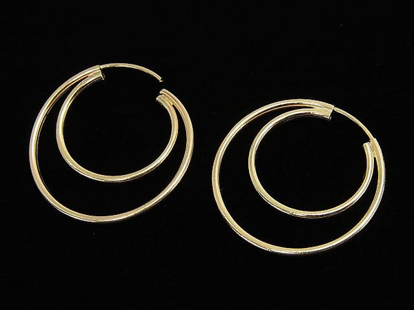 14KGF Double Hoop Earring 24mm 1pair $19.99!