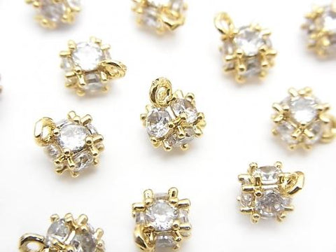 Charm dice with Metal Parts CZ 8x6mm gold color 2pcs $2.79!