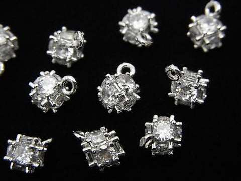 Metal Parts Charm with CZ dice 8x6mm silver color 2pcs $2.79!