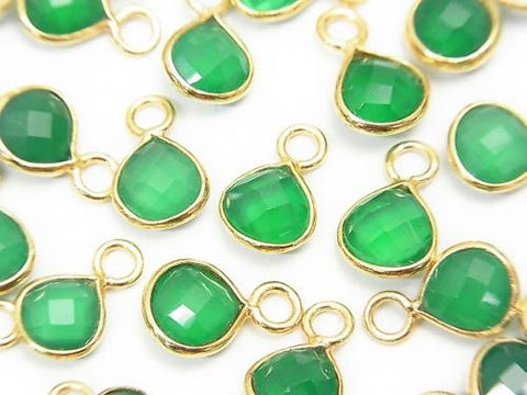 High Quality Green Onyx AAA Bezel Setting Chestnut Shape 7x7x3mm 18KGP 4pcs $5.79