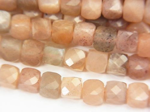 High Quality! 1strand $15.99! Multicolor Moon Stone AA + Cube Shape 4x4x4mm 1strand (aprx.15inch / 37cm)