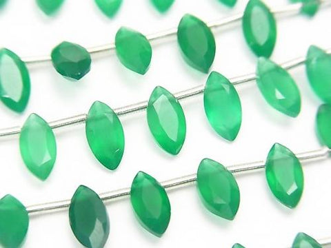 1strand $7.79! High Quality Green Onyx AAA Marquise Faceted 8x4mm 1strand (aprx.5inch / 13cm)